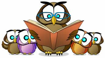 picture of owls reading a book