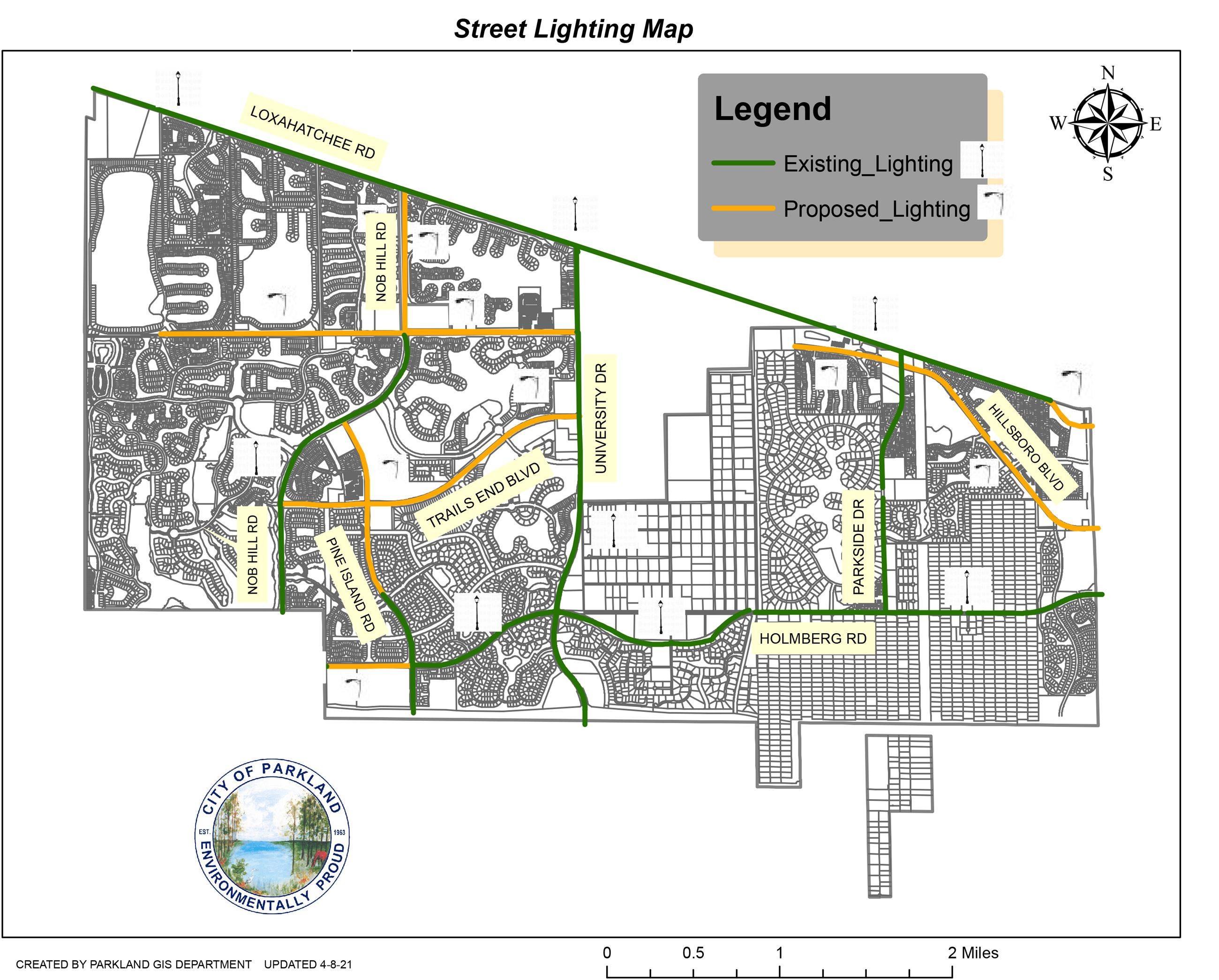 Street Lighting Map in the City of Parkland